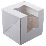 11cm x 11cm x 11cm White Window Cupcake Box - 10 / Bundle