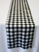 ArtOFabric Black and White Chequered Polyester Table runner 33cm X 180cm .