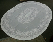 White Vintage Tablecloth Oval Floral Design Wedding Parties Wrinkle Free Size 170cm x 210cm