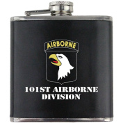 Army 101st Airborne Division Full Colour Stainless Steel Leather Wrapped 180ml Flask