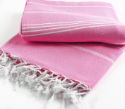 Pestemal Blanket Throw Turkish Striped Beach Towel Picnic Home Bed 59x79 TM by Cacala Darkpink