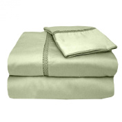 MADE IN THE USA 500TC 100% Cotton Sateen Princeton Sheet Set King, Sage By Veratex