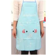 KAKA(TM) Kitchen Fashion Cute Cartoon Pattern Women Waterproof Apron Chef Cooking Apron Bib (27.5*50cm )-Blue Elephant