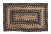 IHF Home Decor New Braided Rug Ebony Design Rectangular Area Rugs for Kitchen Floor 100% Jute Fabric Black with Tan Colour