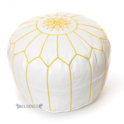 Moroccan White/yellow Stitching Leather Pouffes, Pouffe, Leather Ottoman, Hassock, Tuffet, Foot Stool, Leather Seating, Foot Rest, Handmade Leather Pouffe Comes Unstuffed