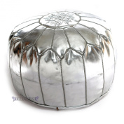 Ottomans Moroccan Silver Ski Leather Pouffes, Pouffe, Ski Leather Ottoman, Hassock, Tuffet, Foot Stool, Ski Leather Seating, Foot Rest, Handmade Pouffe Comes Unstuffed