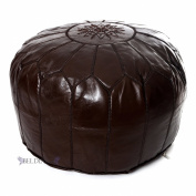Moroccan Chocolate Brown Leather Pouffes, Pouffe, Leather Ottoman, Hassock, Tuffet, Foot Stool, Leather Seating, Foot Rest, Handmade Pouffe Comes Unstuffed