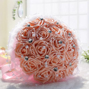 Hestian 18pcs Rose with Rhinestone,pearls Chains Stain Ribbon Handle Bridal Wedding Bouquet Silk Rose Hand Tie