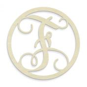 UNFINISHEDWOODCO Single Letter Circle Monogram-F, 48cm , Unfinished