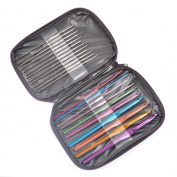 KLOUD City® 22 Pcs Mixed Aluminium Handle Crochet Hook Set/Knit Needle for Weave Yarn with PU Case/Bag