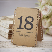 Ginger Ray Brown Kraft Wedding Party Table Numbers 13-24 - Vintage Affair
