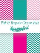 TURQUOISE & PINK CHEVRON PATTERN PACK of Craft Vinyl Pack Scrapbook Supplies