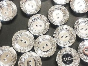 20 X 25mm Clear Round Faceted Acrylic Crystal Diamante Rhinestone Silver Buttons