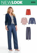 New Look Patterns UN6351A Misses' Jacket, Pants, Skirt and Knit Top, A