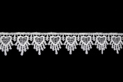 Altotux 3.2cm White Heart Scalloped Edge Venice Lace Trim By 2 Yards
