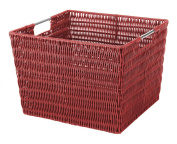 Whitmor 6500-1715-RED Rattique Storage Tote, Red