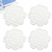 kilofly Small Handmade Crochet Round Cotton Lace Table Placemats Doilies for Cup/Glass Value Pack [Set of 4], Medallion, 13cm , White