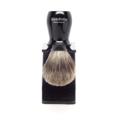 Spitalfields Shaving Company 100% Pure Badger Bristle with Black Resin Handle Shaving Brush and FREE Acrylic Stand - Brick Lane - Black