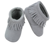 Suede Fringe Baby Boots (18-24 month (14cm ), Grey) [Baby Product]