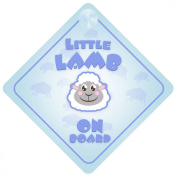 Little Lamb Blue On Board Car Sign New Baby / Child Gift / Present / Baby Shower Surprise
