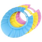 Dianoo Children Baby Kids Waterproof Bathing Cap Shampoo Shower Protect Hat Adjustable Set of 3