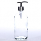 Thick-plated Clear Glass Apothecary Style Round Bottle with Sleek Metal Dispenser Pump