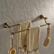 Vintage Art Engraved Wall Mount Double Rails Towel Bar Rack Antique Brass Finish Robe and Clothes Hanger Shelf Bathroom Solid Brass Towel Shelf