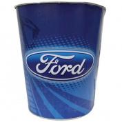 25cm Ford Logo Mustang Cobra Tin Waste Basket/Trash Can, Blue