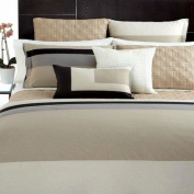 Hotel Collection Panel Stripe Full/Queen Duvet Cover Champagne/Silver/Black