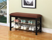 Black Wood Shoe Bench with Chocolate Microfiber Seat