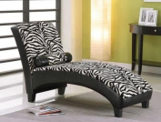 Anna Zebra Fabric And Black Bycast Pu Lounge Chaise by Acme Furniture