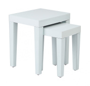 Ave Six REF19-WH Reflections Assembled Nesting Tables, White Glass