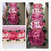 Ustide 5 Rose Floor Runner Rugs Pink Handmade Rug Long Bedroom Rug Non-Slip Carpets for Girls Room/Sofa/Bay window 7x2