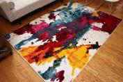 Radiance Art Collection Contemporary Modern Splat Yellow Blue Orange White Wool Area Rug Rugs 6008 2.1m3m x 3m10