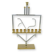 Hanukkah Menorah. Gold and Silver Plated Hanukkah Menorah, Gold Plated Base and Candle Holders with Silver Plated Wired Dreidel Shape and the Letters 'Nun' and 'Yud' Design. Made in Israel. Jewish Art. Great Gift For; Shabbat Chanoka Rabbi Temple Weddi ..