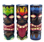 3 Tiki Designed Carved and Painted Wood Candle Holders, 20cm with Tea Light Candle