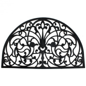 J & M Home Fashions Wrought Iron Half Round Natural Rubber Doormat, 60cm by 90cm