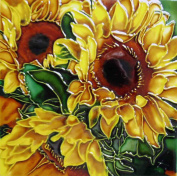 Continental Art Centre BD-2042 20cm by 20cm Yellow Sunflower with Green Leaves Ceramic Art Tile