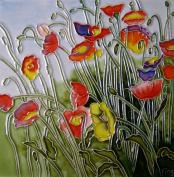 Continental Art Centre BD-0289 20cm by 20cm Multi-Colour Poppy Field Ceramic Art Tile