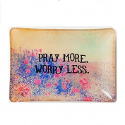 Natural Life GLST013 Glass Tray, Pray More Worry Less
