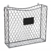 Country Rustic Grey Metal Wire Wall Mounted Magazine, File & Mail Holder Basket w/ Chalkboard Label