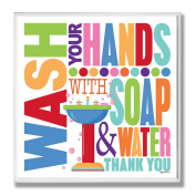 The Stupell Home Decor Collection Wash with Soap and Water Colourful Bath Wall Plaque