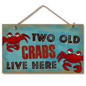 New Vintage Wood Hanging Wall Sign Two Old Crabs Live Here Distressed Plaque Cosy Beach Cottage Decor Art