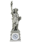 Silver Statue of Liberty Clock 25cm Figurine; New York City Clocks and Statues of NYC