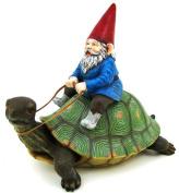 Large Garden Gnome Riding Turtle Statue Patio Pool