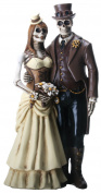 Love Never Dies Steampunk Skeleton Wedding Couple Statue Figurine