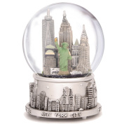 New York Musical Silver Lined 100mm Snow Globe