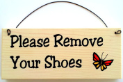 Please Remove Your Shoes with Orange and Yellow Butterfly Design