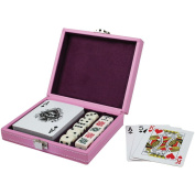 Charlotte Pink Leatherette Single Deck Poker Game Playing Card Holder with 10 Dice - 13cm