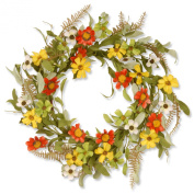 National Tree Garden Accents Floral Wreath with Sunflowers, 50cm , Red/Yellow
